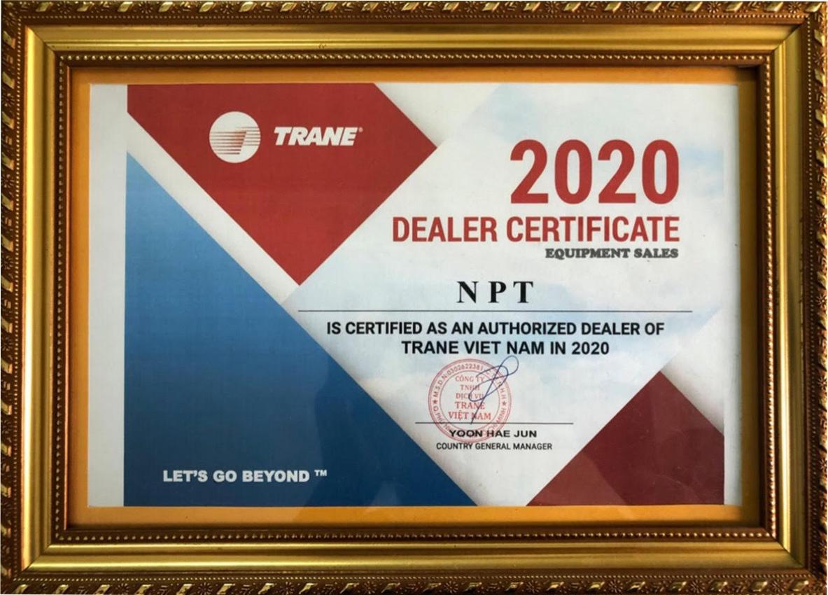 Giấy chứng nhận của Trane 2020